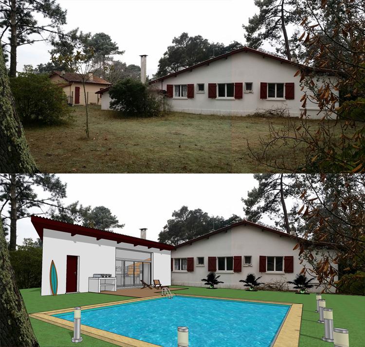 Exemples de r alisations for Plan maison landaise